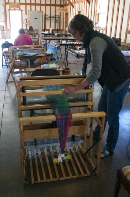 Kathie beaming the warp with even tension