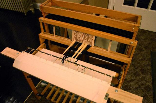 Warp tied on ready to weave